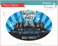 Placa Elipse Digital Balada Azul