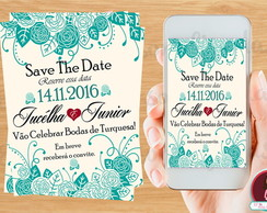 Save The Date Digital-Bordas de Turquesa