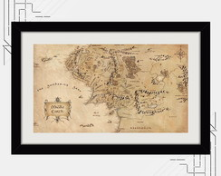 Quadro Terra Media 65x45m Hobbit Mapa Filme Cinema K6