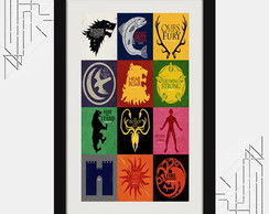 Quadro Game Of Thrones 67x47cm Brasao