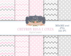 Papel Digital Chevron Rosa e Cinza