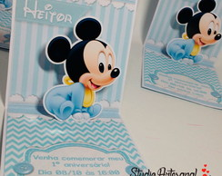 Convite Mini Pop Up - Baby Mickey