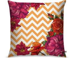 Capa de Almofada Chevron Flower Orange