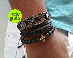Mix de Pulseiras Metal Corrente Cruz