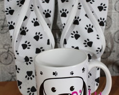 kit Caneca + Chinelo I Love My Dog