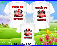 Kit Familia camisetas Carros c/3