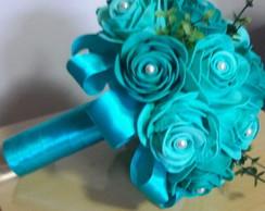 768e9ff0d62c3 ... Buquê de noiva em EVA azul verde tiffany