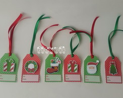 Tag com aplique da Natal, kit com 6