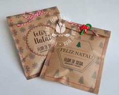 Saco Kraft Natal c/ confete chocolate