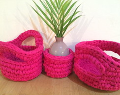 3 cachepots rosa pink lindos