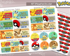 Kit Etiquetas Escolar - Pokémon