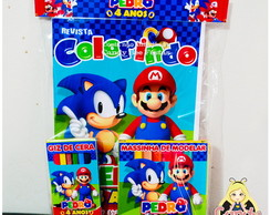 Kit Colorir com Massinha Mario x Sonic
