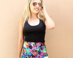 Short-Saia Estampa Summer Poliamida