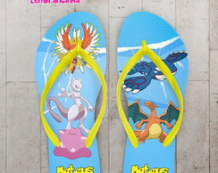 Chinelo Infantil Pokemon Fundo Azul