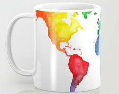 Caneca Mapa Colorful world