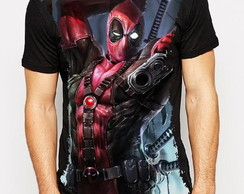 Camiseta sublimada preta Deadpool