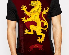 Camiseta sublimada preta Game of Thrones Casa Lannister