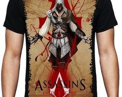 Camiseta sublimada preta Game Assassins Creed Ezio