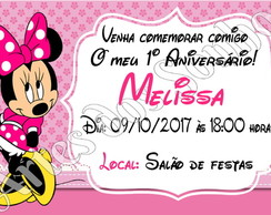 Convites Minnie Rosa com envelope