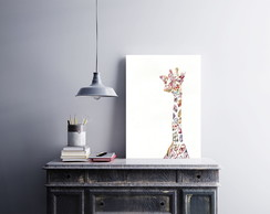 "Placa decorativa ""Girafa Flores"""