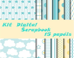 Kit Digital Scrapbook Azul