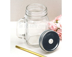 20 Canecas Jar 450ml com Canudo Papel 2