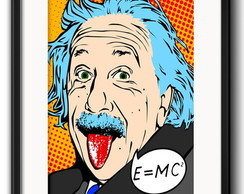 Quadro Einstein Pop Art com Paspatur