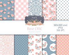 Papel Digital Floral Rose Chic