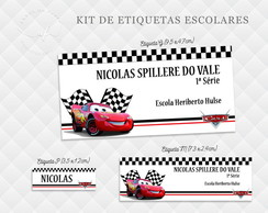 Etiqueta Escolar Carros - Kit 1
