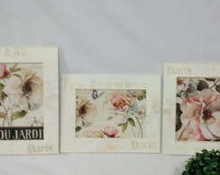 Kit Quadros Decorativos Flores Trio