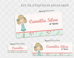 Etiqueta Escolar Girl - Kit 3