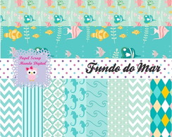 KIT PAPEL DIGITAL FUNDO DO MAR 12-8