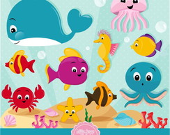 Kit Scrapbook Digital Fundo do Oceano