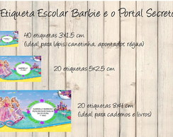 Etiqueta Escolar Barbie Portal Secreto