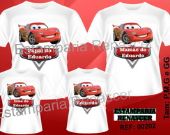 Kit camiseta personalizada Carros c/4