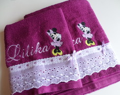 Conjunto de toalhas bordadas Minnie