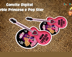 Convite Barbie Pop Star (Arte Digital)