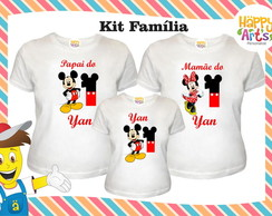 Kit 3 camisetas Mickey