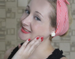 Bandana Pin Up Listras Vermelha