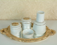 Kit Higiene Porcelana Filetado coroa