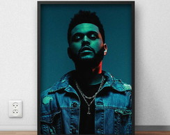 "Quadro decorativo ""The Weeknd"" com moldura e vidro"