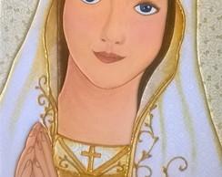 Quadro Nossa Senhora De Fatima Grande No Elo7 Bonecolandia