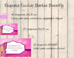 Etiqueta Escolar Barbie Buterfly