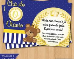 Convite Cha De Bebe Urso Coroa Elo7