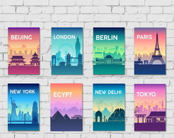 Kit 8 Placas Decorativas Cidades Capital