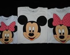 KIT c/3 Camiseta branca -Minnie e Mickey