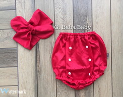 Tapa fralda hot pants com turbante