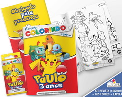 Kit Revista + Giz + Lapela - Pokemon