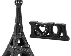 Miniatura Torre Eiffel + Love You Preto