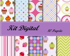 Kit Papel Digital Cupcakes + brinde